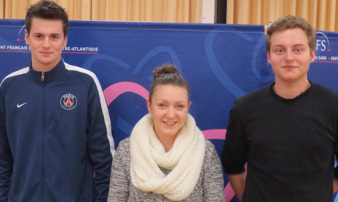 Emilie, Luc et Dylan, nouveaux donneurs à Chasseneuil le 29.01.2015